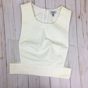 TOBI White Crop Top Sheer Sides Size Medium